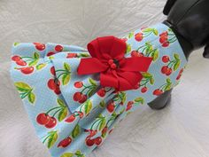 Cherries and small dots  Dog Dress with built by graciespawprints