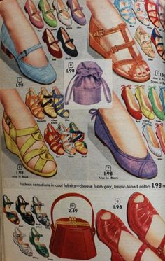 Vintage fashion style color illustration print ad red blue yellow purple red wedge sandals flats heels Remember ladies to match you shoes to your purse (1952)
