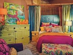 boho chic bedroom...love these colors with a lot of WHITE :)