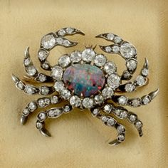 Gold on silver Victorian Fine quality rare diamond and black opal crab brooch 1890c - John Joseph Brooches