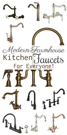 Kitchen Faucets Ideas Modern Farmhouse Kitchen Faucets For Everyone! - We can now get these beautiful farmhouse/antique looking faucets, with all of the convenient functionality of the modern day faucet! Farmhouse Faucet, Farmhouse Style Kitchen, Modern Farmhouse Kitchens, Farmhouse Design, Kitchen Modern, Farmhouse Rules, Farmhouse Decor, Sink Faucets, Houses