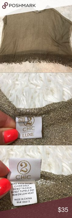Chic to Luxe Light Knit Poncho Worn once and so pretty. Lightweight and so soft beautiful golden Shimmer Chic Luxe Sweaters Shrugs & Ponchos