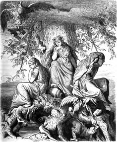 """The norns Urðr, Verðandi, and Skuld under the world oak Yggdrasil"" (1882) by Ludwig Burger."