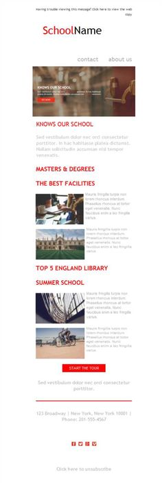 Versión responsive de plantillas newsletter para tu sector de universidades.
