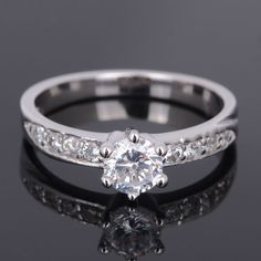 Engagement 18k white gold filled Wedding Party white sapphire ring Sz3.5-Sz10.5 #NewLook