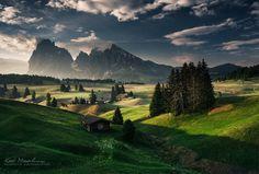 Alpe di Siusi z widokiem na Sassolungo jeden z najładniejszych masywów w Dolomitach, Włochy.  w: Seiser Alm - Alpe di Siusi.