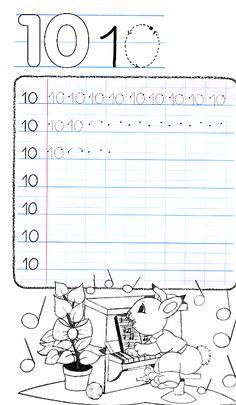 Apprends à écrire le nombre 10 Preschool Worksheets, Maths, Words, Homeschooling, Preschool Printables, Note Cards, Learning The Alphabet, Horse, Homeschool
