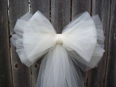 Tulle Pew Bow Tulle Wedding Church Pew Decor by OneFunDay on Etsy Wedding Aisles, Wedding Church Aisle, Tulle Wedding, Diy Wedding, Formal Wedding, Trendy Wedding, Church Pews, Wedding Pew Bows, Wedding Garter