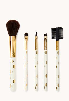 """Metallic Polka Dot Cosmetic Brush Set   FOREVER21 - 1000108055- The other one """"is not available"""" anymore, and i cant figure out how to delete pins...."""