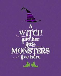 a witch and her little monsters live here. Halloween art.