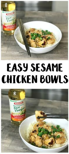 Making healthier choices in the new year is easier when you start with simple swaps! Using NAKANO® Rice Vinegars as a better-for-you swap in your favorite dishes, like this Easy Sesame Chicken Bowls recipe, is a great step toward a healthier lifestyle! Yummy Chicken Recipes, Yum Yum Chicken, Turkey Recipes, Pork Recipes, Lunch Recipes, Dinner Recipes, Healthy Recipes, Drink Recipes, Delicious Recipes
