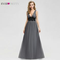 Elegant Grey Evening Dresses Long Ever Pretty A-Line V-Neck Beaded Formal Party Dresses Vestidos De Fiesta De Noche. If You Want to get more ideas just click picture. Long Bridesmaid Dresses, Prom Party Dresses, Party Gowns, Holiday Dresses, Karen Millen, Illusion, Grey Evening Dresses, Formal Dresses, Prom Dresses Online