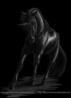 black unicorn by Blood-Huntress.deviantart.com