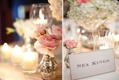Blush flowers for wedding table