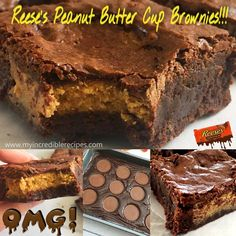 Homemade Reeses Peanut Butter Cup Brownies - For the Home - Cookies Recipes Peanut Butter Cup Brownies, Peanut Butter Squares, Chocolate Peanut Butter Cups, Best Peanut Butter, Homemade Peanut Butter, Peanut Butter Recipes, Chocolate Caramels, Chocolate Cheesecake, Chocolate Brownies