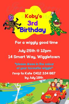 The Wiggles invite Personalised PRINTABLE by IttyBittyInvites4you, $10.00 etsy Wiggles Birthday, Wiggles Party, The Wiggles, 3rd Birthday, Birthday Ideas, Birthday Parties, Invite, Invitations, Rsvp