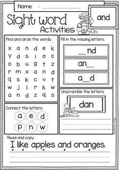 Free Sight Word Activities is perfect for preschool, kindergarten and first graders. These sight word pages help children to learn sight word by spelling, reading, writing, finding and connecting letters. Blends Worksheets, First Grade Worksheets, Reading Worksheets, Free Printable Worksheets, Kindergarten Worksheets, Worksheets For Kids, Cvc Worksheets, Kindergarten Sight Words Printable, Synonym Worksheet
