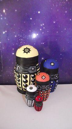 Doctor who, matt smith, Paradigm new style Dalek five piece hand painted nesting dolls.