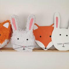 fox & bunny pinata and fox and bunny photobooth props for birthday party