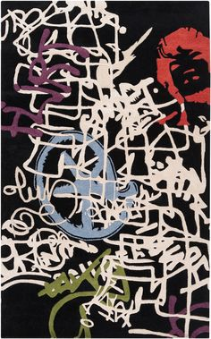 Bold graffiti-patterned rug from Surya's Lies collection by @Mike Farrell