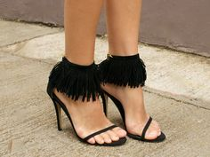 DIY Fringed Suede Anklets by apair-andaspare via harpersbazaar #Fringed_Suede_Anklets #Shoes #DIY #apair_andaspare #harpersbazaar