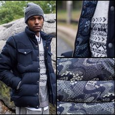 Penfield for Atrium NYC - Black Bear Stapleton jacket in navy suiting/navy leaf.