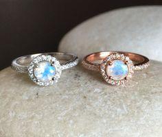 Rainbow Moonstone Halo Ring Engagement Ring Promise Ring