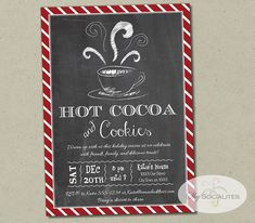 Hot Cocoa Chalkboard Invitation Hot Chocolate by ShySocialites - Hot Cocoa İdeas Hot Chocolate Party, Cocoa Party, Chocolate Coffee, Ward Christmas Party, Christmas Party Invitations, Christmas Menus, Chalkboard Invitation, Printable Invitations, Party Printables