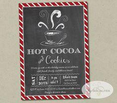 Hot Cocoa Chalkboard Invitation  Hot Chocolate by ShySocialites