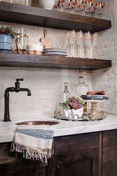 Farmhouse Interior Design Ideas - Decor ideas - Farmhouse butler's pantry with dark cabinets, white marble countertop and painted brick backsplash - Farmhouse Kitchen Cabinets, Modern Farmhouse Kitchens, Home Kitchens, Wood Cabinets, Open Cabinets, Bathroom Cabinets, Bathroom Vanities, Copper Farmhouse Sinks, Colonial Kitchen