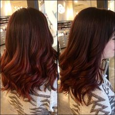 Red and red-violet color melt by Jess. #redhair #redviolet #hair #haircut #hairstyle #hairinspiration #haircolor #waves #ombre