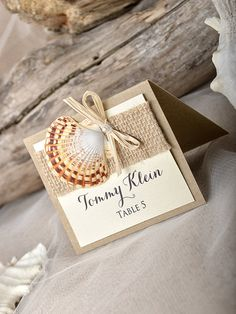 Rustic Beach Wedding Place Cards Seashell Escort Crads Name Card Tented
