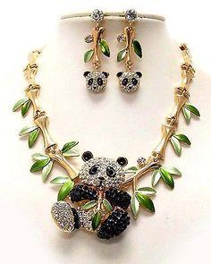Austrian CRYSTAL PANDA Bear Gold BAMBOO Chain NECKLACE EARRING Rhinestone SET UK in Necklaces & Pendants | eBay