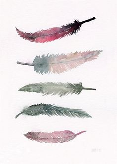 Super smuk fjer plakat.... TheClayPlay - Feathers Pink A4