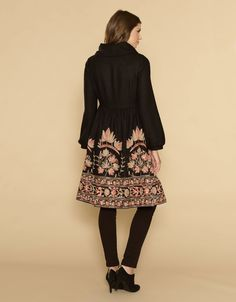 #315 Jaipur Embroidered Skirt Coat | Black | Monsoon