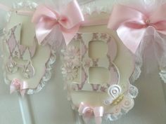 Pink And Cream Lace Baby Banner / Shabby Chic Shower / Pink Baby Photo Prop / Shabby Chic Nursery Decor