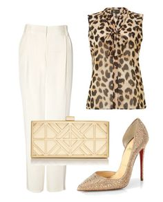 Cheetah Print Silk top, white trousers and nude stilettos. Classic Style