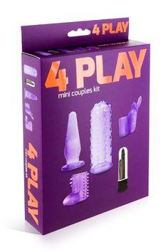 """Le coffret #sextoys """"4 Play mini couples kit"""" est composé d'un mini vibro multi-vitesses accompagné de 4 gaines permettant de personnaliser votre #vibromasseur et de multiplier les plaisirs."""