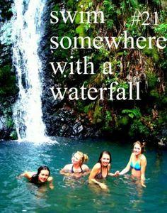Swim under a waterfall with beautiful girls