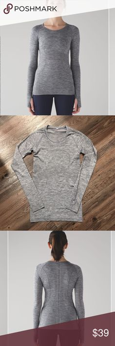 Lululemon Swiftly Tech Long Sleeve In GOOD CONDITION NO STAINS NO HOLES! We designed this anti-stink long sleeve to be your feather-light layer for sweaty runs and training sessions. The body is made without side seams to keep chafe in check, and the fabric is lightweight so you can move freely. There's extra ventilation in high-sweat zones help you let off steam. Silverescent® technology uses silver fibres to inhibit the growth of odour-causing bacteria on this long sleeve. You'll be…