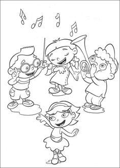 kleurplaat Little Einsteins - Kleine Einsteins maken muziek