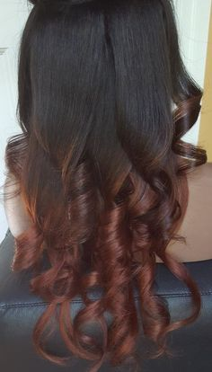 Clip in Double drawn Human Hair Extensions. Remy human hair. 1B / Natural black and Dark Auburn Red