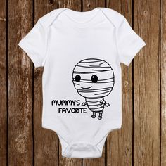 "Adorable Halloween Onesie ""Mummy's Favorite""   Shop Now: https://www.etsy.com/shop/PinkAntCustomDesigns"