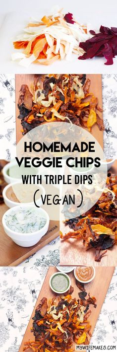 A simple, low-cost recipe for homemade Vegan-Friendly Veggie Chips, complete with special 'Cross-Cultural' Dipping Sauces (Coriander Chutney, Vegan Lemon Dill Mayonnaise and Hoisin Peanut Sauce). #vegan  #vegetarian