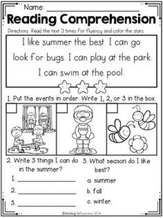 Kindergarten Reading Comprehension (Summer Edition) by Teaching Biilfizzcend Reading Comprehension Worksheets, Reading Fluency, Reading Intervention, Reading Passages, Reading Strategies, Reading Skills, Teaching Reading, Reading Activities, Learning