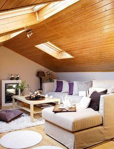 Scandinavian apartments are relaxed and cool with inspiring details Cabin Design, House Design, Scandinavian Apartment, Attic Bedrooms, Attic Spaces, Cozy Living Rooms, Decorating Small Spaces, New Room, Interior Design Living Room