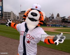 DETROIT, MICHIGAN - JUNE 04: The Detroit Tigers mascot Paws... #agiaparaskevigr4: DETROIT, MICHIGAN - JUNE 04: The… #agiaparaskevigr4