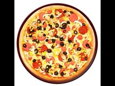 Homemade mixed pizza / Ev üsulu göbələkli zeytunlu pizza/Qarışıq pizza