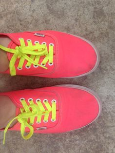 My neon pink vans with neon yellow shoelaces Neon Pink Vans, Neon Yellow, Van Shoes, Yellow Shoes, Mom And Dad, Dads, Sneakers, Women, Fashion