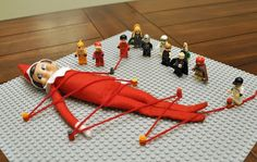 Perfect for my love of Lego people! Even though I think the elf on the shelf (at least of this traditional design) is creepy-looking! 20 Elf on the Shelf Ideas with Shopping List and Daily Planner Christmas Hacks, All Things Christmas, Holiday Crafts, Holiday Fun, Holiday Ideas, Winter Holiday, To Do App, Awesome Elf On The Shelf Ideas, Elf Magic